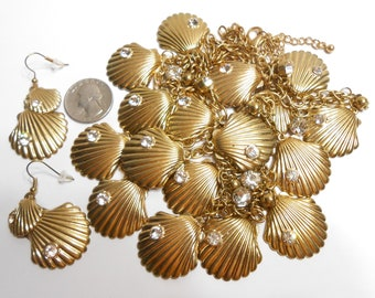 Vintage 40 Inch Goldtone Shell and Clear Rhinestone Long Necklace and Earrings Set or BELT