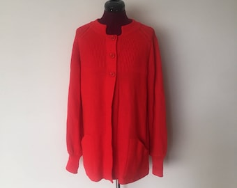 60s Mod Red Cardigan Sweater Jacket size S M by LeRoy