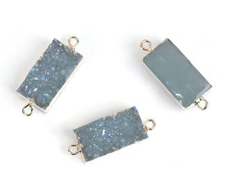 1 Blue Resin Druzy Connector Gold Plated with Attached Loops Rectangular Shaped - Z367