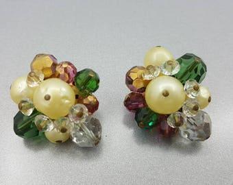 Hattie Carnegie Cluster clip earrings Art Deco Gorgeous Colors MCM