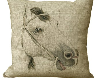 Horse Head in Choice of 14x14 16x16 18x18 20x20 22x22 24x24 26x26 inch Pillow Cover