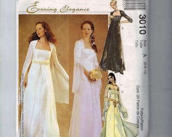 Misses Sewing Pattern McCalls 3010 Evening Elegance Wedding Gown Romantic Renaissance High Empire Waist Size 6 8 10 or 10 12 14 UNCUT