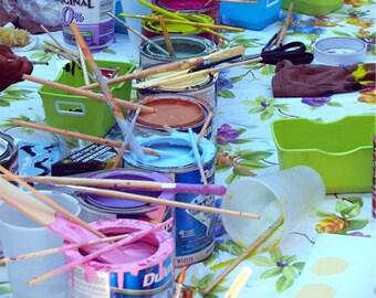 Creating, art teachers gift,  photograph, art school paint cans, pastels, artist brushes, home school decor, wall art