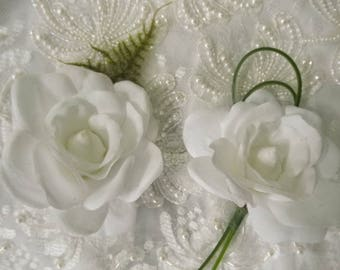 TIGER LILY or GARDENIA or Daisy. Prom 2018 Corsage or Boutonniere. Wrist Corsage or Pin On Corsage. Artificial Wedding Flowers. White Flower