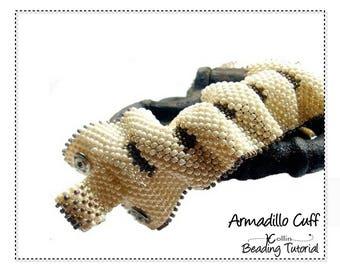 Extra Wide Ripple Cuff Peyote Stitch Beading pattern Bold Seed Bead Jewellery DIY Jewelry Pattern Beadweaving Tutorial/Instruction ARMADILLO