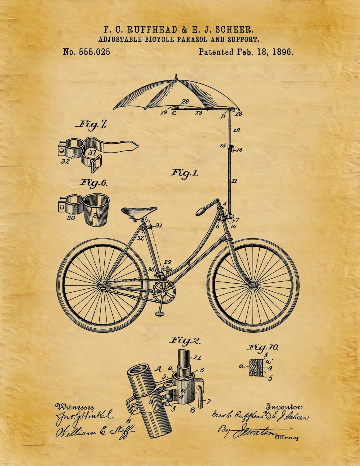 Patent 1896 Bicycle with an Adjustable Parasol and Support Art Print ...