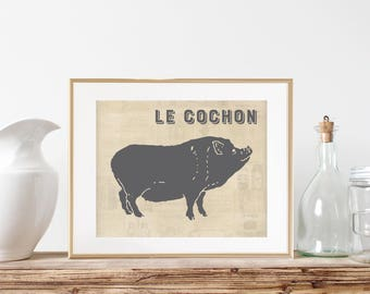 Pig Wall Art Print - Le Cochon, Pork, Dining Room Art, Food Poster, Art For Kitchen, Butcher Style Art, French Kitchen Art, Gift for Chef