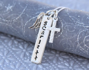 Communion/First Holy Communion/1st Communion/Angel Wing/Cross 18g Sterling Silver Necklace with Back Engraving