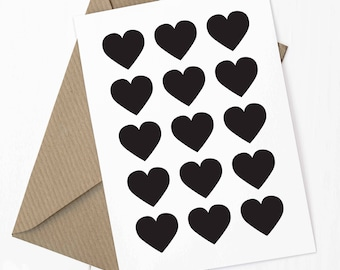 hearts, greetings card A6, free UK delivery