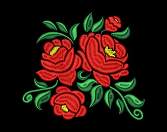Red Rose Embroidery Design #3 - 5 SIZES