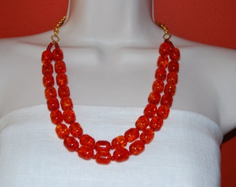 Orange Statement Necklace Double Strand Beaded Necklace Chunky Bold