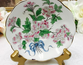 "Royal Albert Flower of the month series ""Hawthorn"" hand painted orphan saucer."