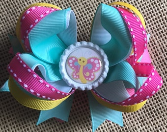Butterfly Hair Bow, Boutique Hair Bow, Pink and Blue Bow, Bottle Cap Hair Bow, Girls Hair Bows