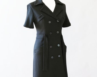 vtg JILL STUART New York black wool double breasted dress coat jacket Sz. 6