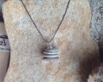 Rock Stone Cairn Necklace - Hiker Necklace - Pebbles