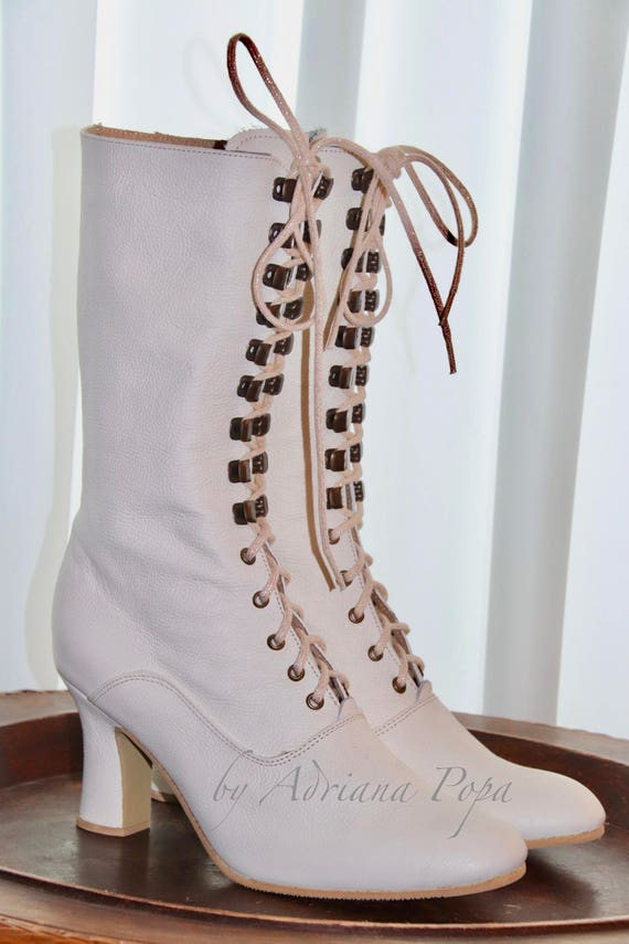 Vintage Boots- Buy Winter Retro Boots Victorian Boots  Off White leather Booties  Wedding Boots  Ivory Victorian Boots  Bride shoes in Off White leather  Ankle boots $211.69 AT vintagedancer.com