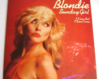 "Blondie vinyl Sunday Girl UK 7"" single in picture sleeve 45 rpm record gift for music fan debbie deborah harry new york punk new wave pop"