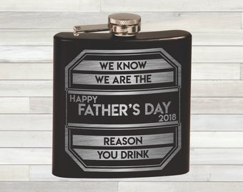 Father's Day Gift. Father's Day Flask. We Know We Are The Reason You Drink. Funny Dad Gift. Father's Day. #1 Dad. Dad Gift. Whiskey Gift