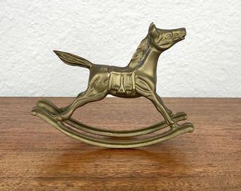 Brass Rocking Horse Figurine