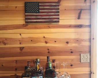 Rustic Wooden American Flag - Small/Dark
