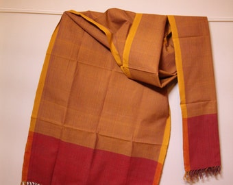 The 'Sohila' Mustard and Burgundy Striped Scarf from Weaving Destination 100% Organic Cotton