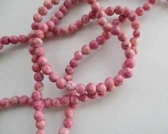 Rhodonite Gemstone 4mm Round Beads