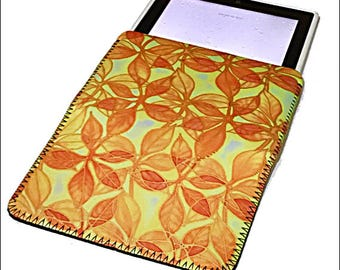 Sunshine Protective Tablet Cover - Slip On iPad Case - Yellow & Orange E-Reader Bag Tidy - Washable Fabric Protection Pouch - Business Gift