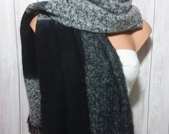Winter Rectangle Scarf in Black & Gray, 6 ft x 2 ft. for Women