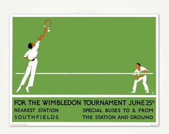 Vintage Tennis Print - Wimbledon England Tennis Poster Art - London Transport Wimbledon Print