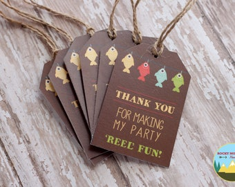 Gone Fishing Party Tags, Fishing Favor Tags, Fish Baby Shower Tags, Fish Party Tags