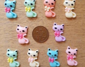 Set of 10 resin flat back cats