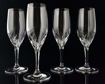 Crystal Champagne Glasses, Stemmed Flutes, Set of 4 - Mid Century Bar Cart Accessories