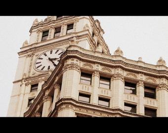 Chicago Photography, Chicago art, Chicago Photo print, Wrigley Building, Chicago Architecture, clocktower, neutrals, beige, Michigan Avenue