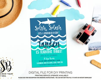 Splish Splash Birthday Bash Pool Invitation: Personalized birthday invitation - ***Digital File*** (Splash-Shark)