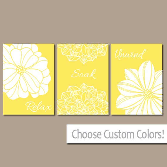 YELLOW BATHROOM Wall Art CANVAS or Prints Bright Yellow