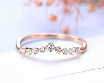 Art  Deco Antique Diamond Wedding Band Rose Gold Curved Stacking Unique Women Chevron Unique Matching Promise Minimalist Anniversary Gifts