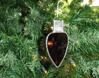 Stained Glass Christmas Light Ornament, Old Fashioned, Retro Ornament, Purple