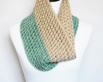 Aqua and Tan Crochet  Scarf, Crochet Cowl, Green and Brown Chunky Neck Warmer, Mint and Taupe Short Infinity Scarf, Crochet Collar Scarf