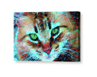 Cat Wrapped Canvas, Cat Wall Art, Cat Wall Decor, Colorful Cat Art, Canvas Art, Cat Artwork, Cat Owner Gifts