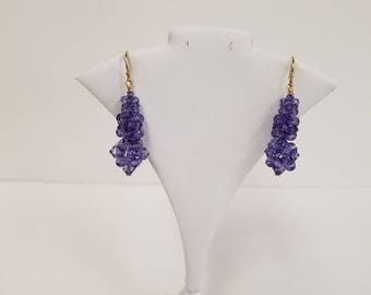 Swarovski Crystal Rock Candy Earrings in Tanzanite with 14KT Gold Filled findings