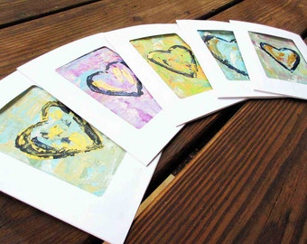 Note Cards, Hand Painted original notecards, Hearts, Abstract Art, Gift