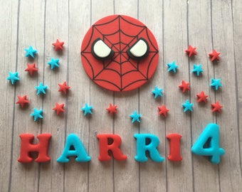 Edible fondant sugar personalised Spider man  logo cake topper set - Red and blue