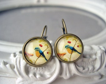 Pretty bird  earrings sweet lolita feminine leverback