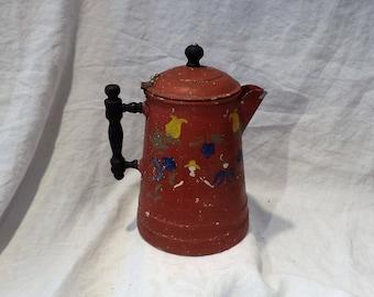Folk Art Decorated Coffee Pot, Vintage Pennsylvania Dutch