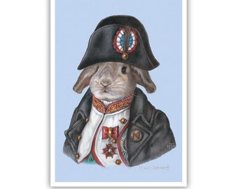 The Rabbit Napoleon - Rabbit Art Print - Cute Pet Prints - Bonaparte - French Wall Art - Funny Pet Portraits by Maria Pishvanova