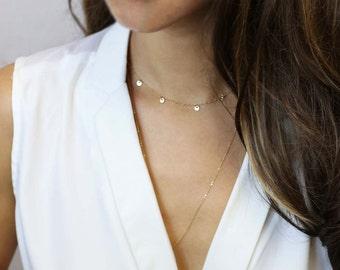 Gold Disc Choker Necklace / Mini Disc Dangle NecklaceGift for Her  EC22
