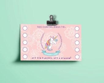 Printable Reward Cards - Pink Unicorn - Printable Reward Punch Card - Chore Card -  Potty Training Card -Behavior Card - Instant Download