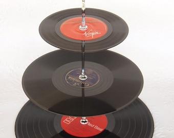 3 tier Vinyl Record Cupcake Stand Retro Cake Stand