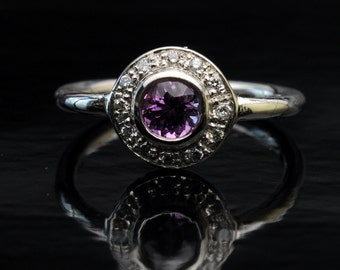Handmade super silver ring with violet Sapphire ring.