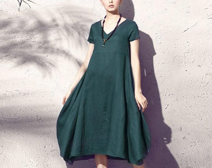 ON SALE/Size40/Ready to ship/Linen dress - Summer dress - Women long dress - Short Sleeve Dress - V neck - Asymmetrical base